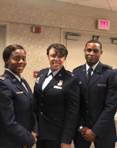 cadets and Lt. Gen Stayce D. Harris